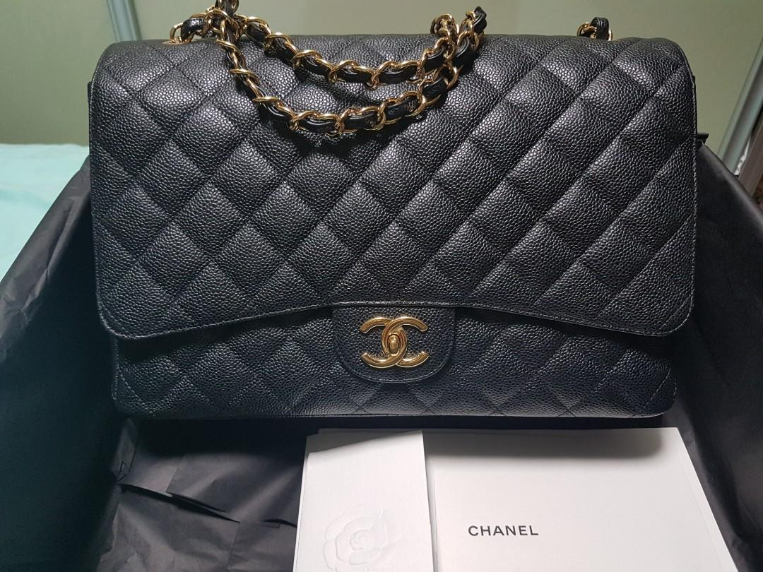 Chanel Maxi Classic Black Caviar Double Flap Bag Luxury
