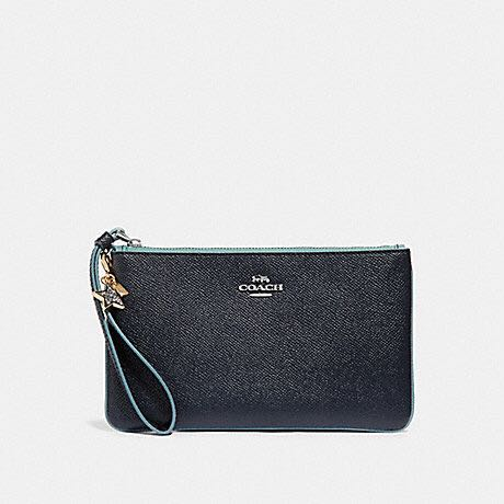 fa69c7a039 Coach Crossgrain Leather Large Wristlet With Charm F29398 Midnight ...