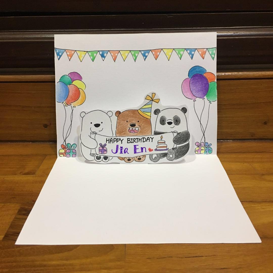 Customized We Bare Bears Birthday Graduation Anniversary Pop Up