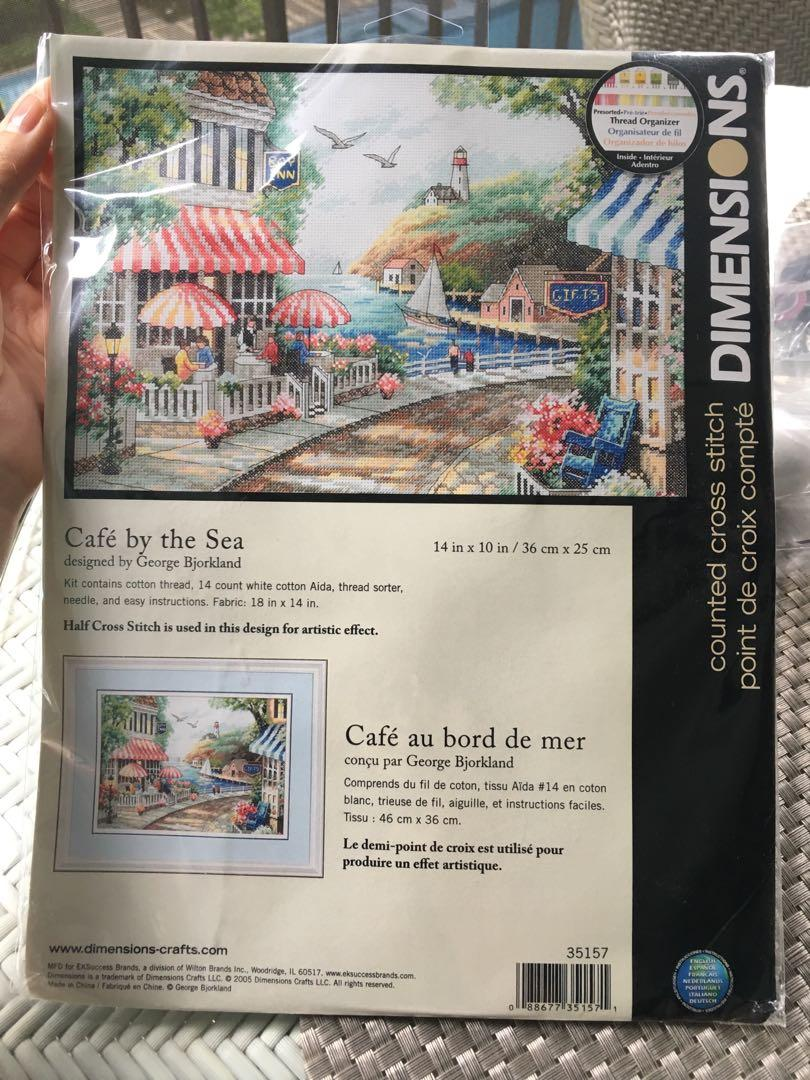 Dimensions Caf/é by The Sea Counted Cross Stitch Kit 14 Count White Aida 14 x 10
