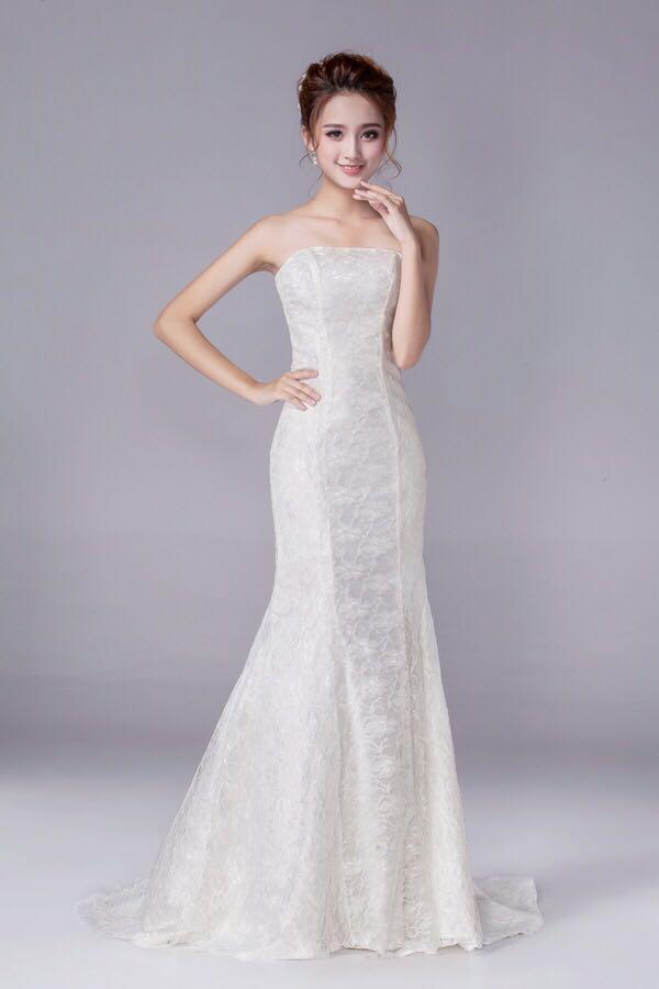 IN STOCK  Elegant Tube Mermaid Wedding Gown