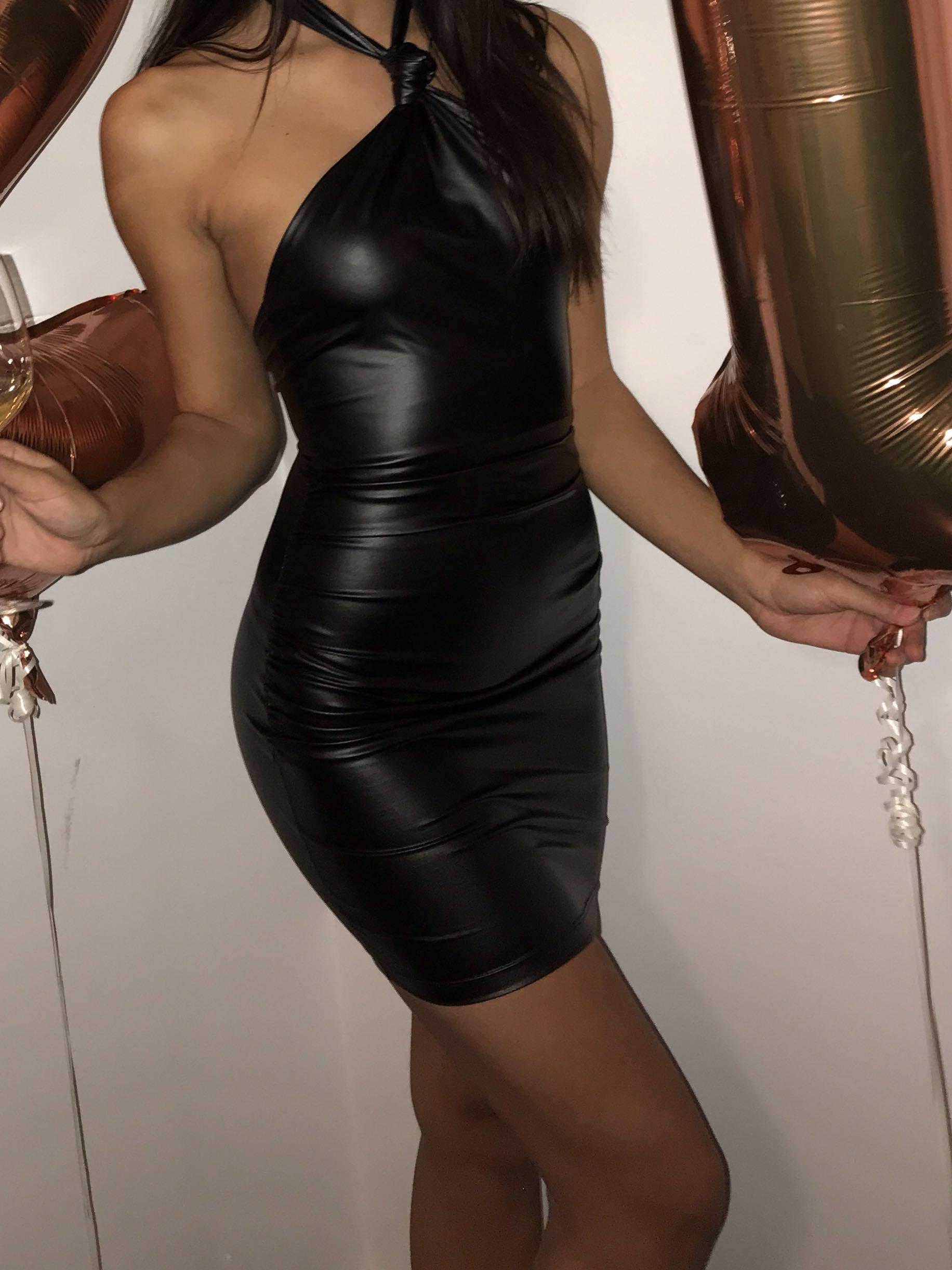 M Boutique Black Leather dress small brand new stunning