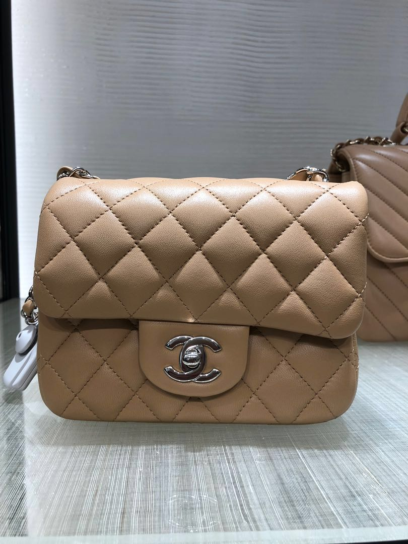 2e87e2d6fad8 NEW Chanel Beige Lambskin Mini Square Classic Flap Bag, Luxury, Bags &  Wallets, Handbags on Carousell