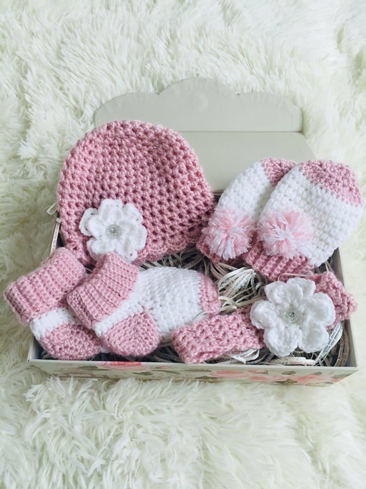 Newborn Baby Gift Set Crochet Hairband Socks Smitten Baby Hat Baby