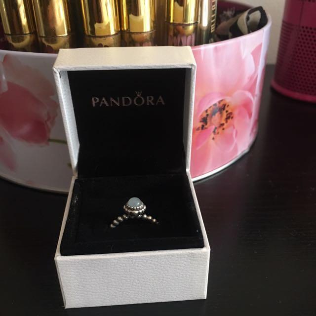 Pandora Aquamarine & Silver March Birthstone Ring Size 52