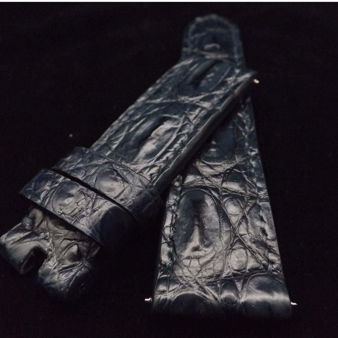 b333e39a778 Panerai 24 22mm Dark Navy Blue Crocodile Hornback Leather Strap ...