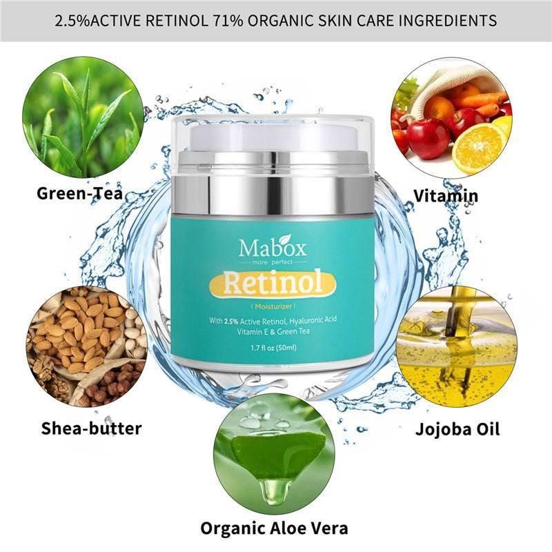 Retinol Moisturizer Face Cream (50g): Hyaluronic Acid, Vitamin A, Moisturizing, Whitening, Anti-aging, Anti-wrinkle