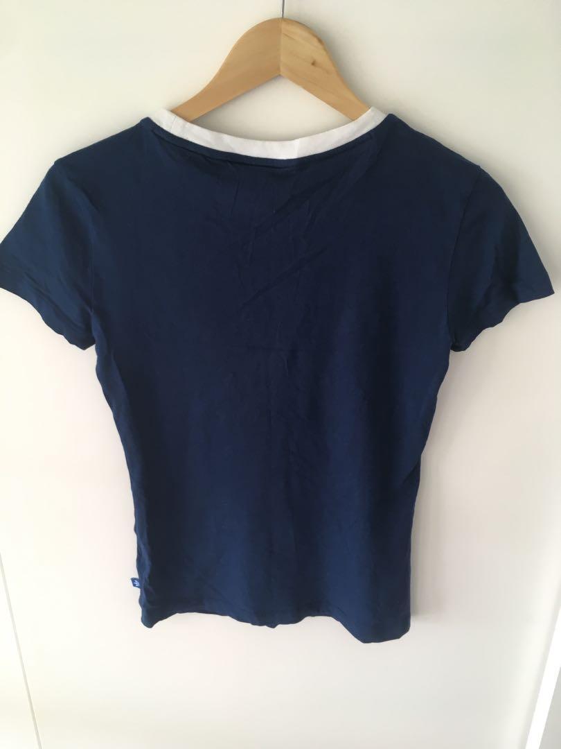 Size 8 UK Navy blue and white Adidas t-shirt