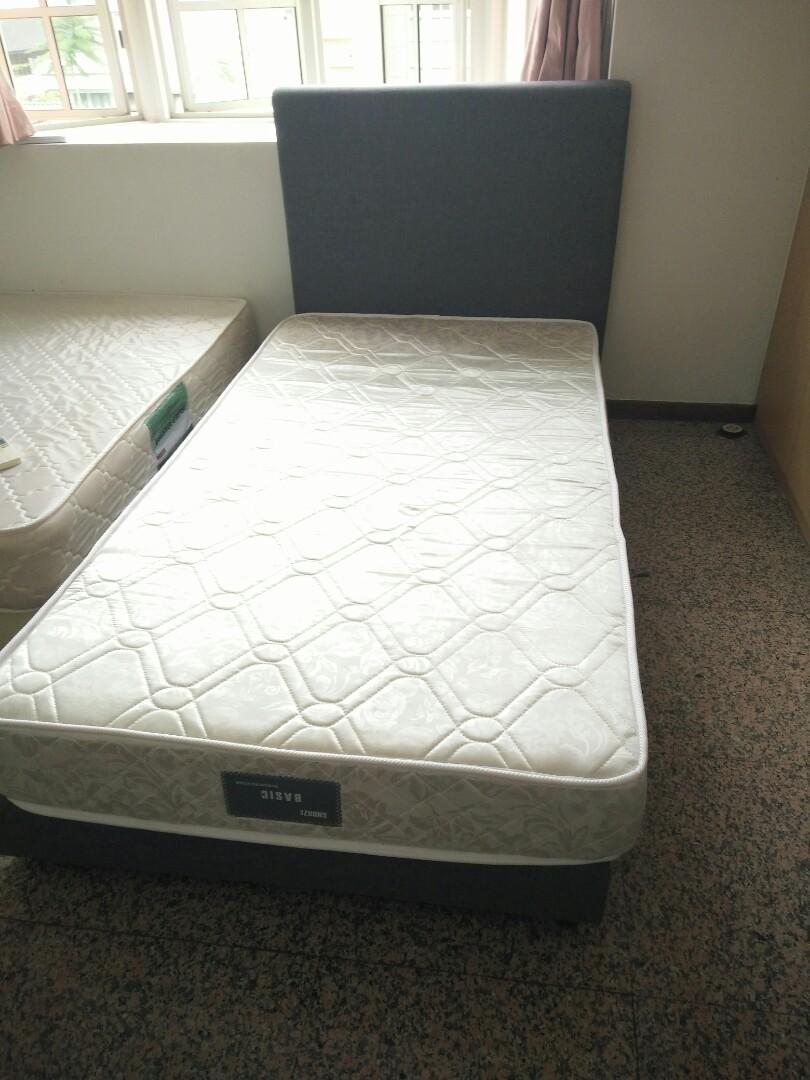 Picture of: Super Single Mattress With Fabric Divan Bed Frame Furniture Beds Mattresses On Carousell