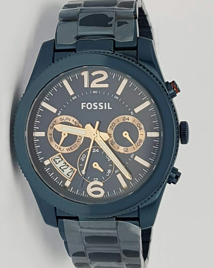 US Bought Authentic Fossil ES4093 Perfect Boyfriend Navy Blue Dial ... 489c346b59