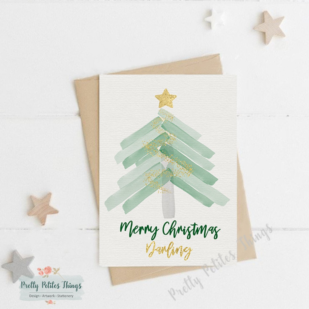 Watercolor Christmas Cards.Watercolor Christmas Card New