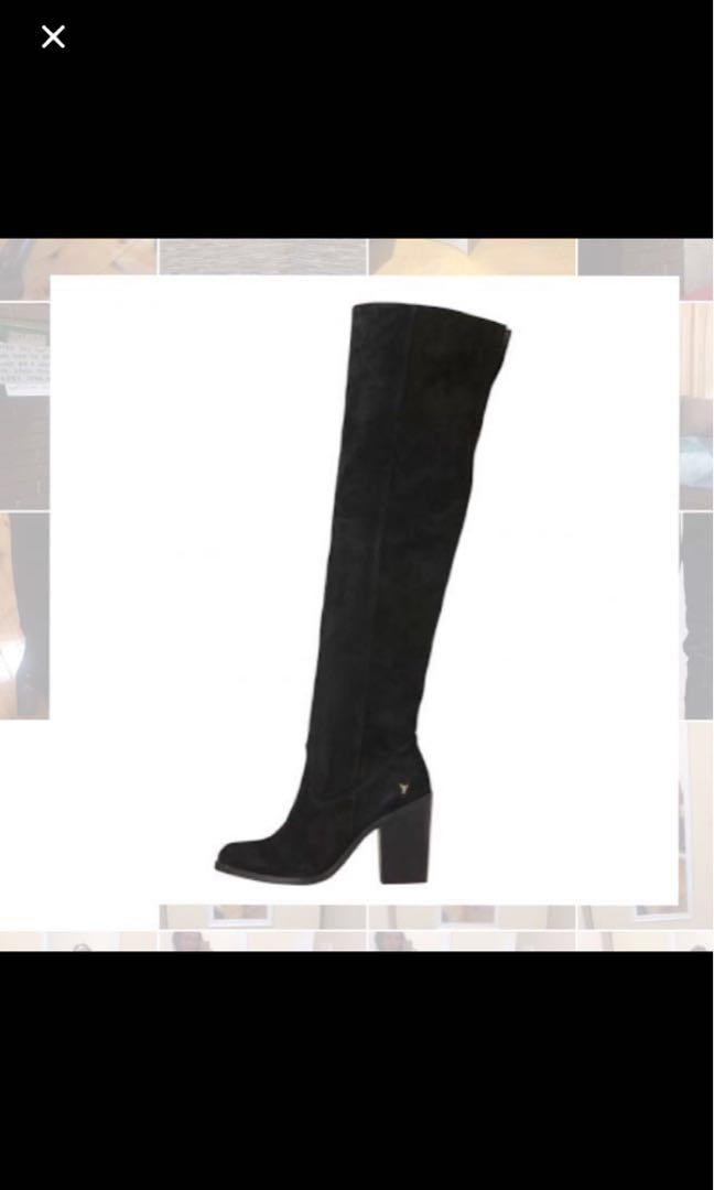 Windsor Smith Lina suede over the knee high heel boot
