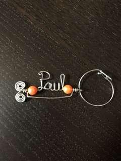 Handcrafted key chain 'PAUL'