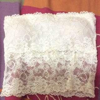 Preloved White Lace Tube Cropped Top