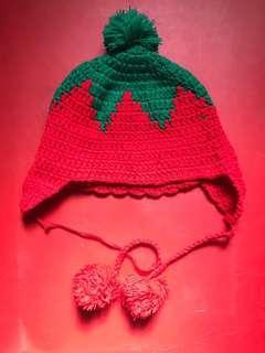 Preloved strawberry beanie crochet