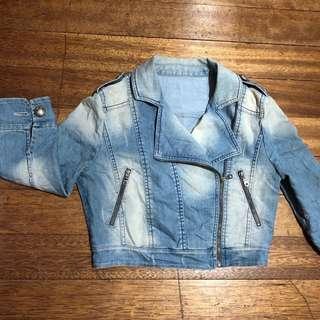Cropped Denim Biker Jacket