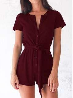 Red Button Up Romper