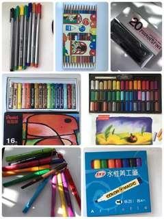 🚚 粉彩/炭筆/蠟筆/色筆/色鉛筆/美工筆(一起賣)