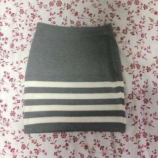 Grey Striped Bandage Skirt
