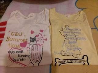 $40/2件 不出價者免問 只做順豐到付 議價免問 不面交 不量度尺寸 ceu tee t-shirt 粉黃色系