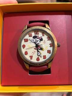 🚚 全新 香港迪士尼限定米奇90 MOUSE PARTY 米妮款復古手錶⌚️