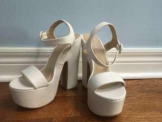 Also - white platform heels size 8