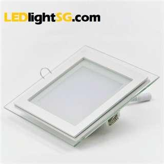 6W LED Glass Panel downlight Square Lamp Taiwan Chipset 1 yr warranty (White )