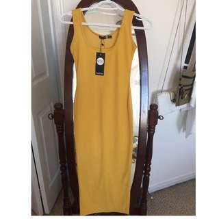 *BRAND NEW* Boohoo Mustard Yellow Dress in Size US 2