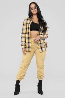 Mustard High-waisted Pants