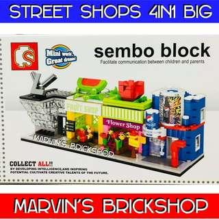 SEMBO BLOCKS Steet Shops 4in1 set (BIG SIZE)
