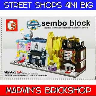 SEMBO BLOCK Street Shops 4in1 set (Big Size)