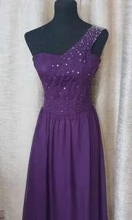 Plum evening gown