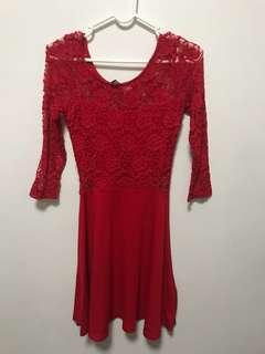 H&M red lacey dress