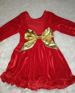 Christmas Dress Velvet With gold bow in the back