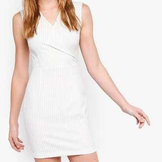 Zalora Basics White Pinstripe Wrap Sheath Dress