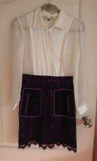 Dress. New. One piece. Chiffon top and Lace bottom