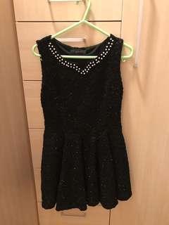 全新黑色珍珠斯文裙 (裙身有閃) - Women black dress