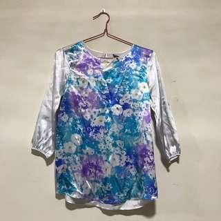 Ladylike Satin Floral Blouse