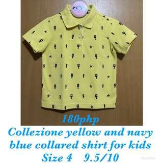 COLLEZIONE Yellow and navy blue collared shirt for kids boys or girls