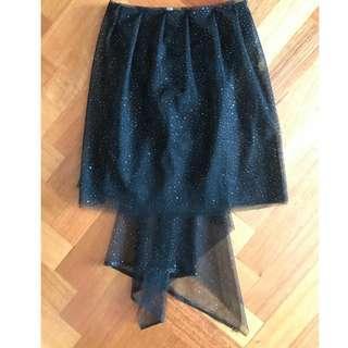 Black Mesh Tulle Silver Polka Dot Detail Festival Skirt