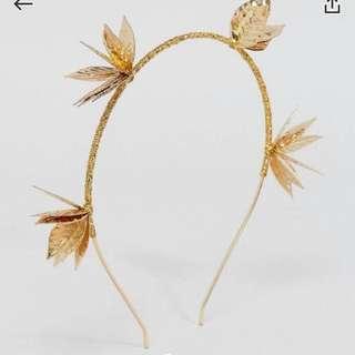ASOS Gold Metallic Floral Leaf Headband Headpiece festival rave wear