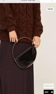 Mango Black Metallic Hoop Handbag Crossbody Clutch Bag Purse