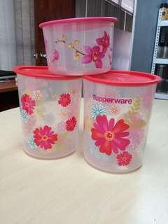 TUPPERWARE FORTUNE BLOOMS CANISTER small 2.0L