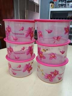 TUPPERWARE ORCHID ELEGANCE ONE TOUCH TOPPER small 950 L