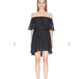 Finders Keepers Black Better Days Ruffle Off Shoulder Dress