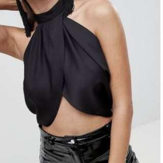 Brand New with Tags ASOS Design Sexy Drape Crop Top High Neck