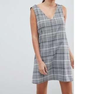 New with Tags ASOS DESIGN Grey Black White Check Mini Shift Dress