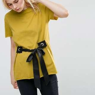 ASOS Yellow Mustard T-Shirt with Black eyelet Tie Front Design