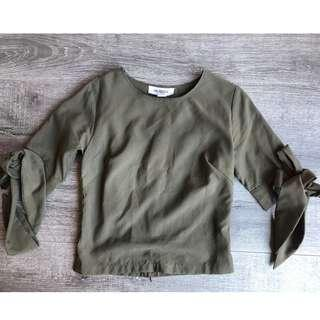 MAURIE & EVE KHAKI GREEN LONG SLEEVE TOP WITH BOW TIE UP SLEEVES