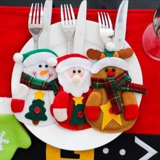3pcs Christmas Fork Spoon Knife Cover Case Tableware Holder